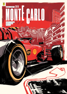 F1 Monte Carlo Ferrari Постер