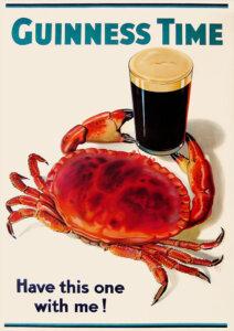 Рекламный постер пива «Guinness» с крабом